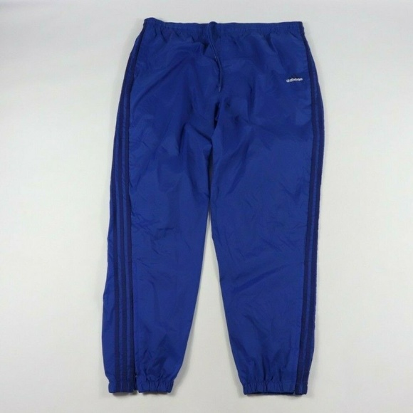 Vintage Adidas Spell Out Nylon Joggers Pants Blue